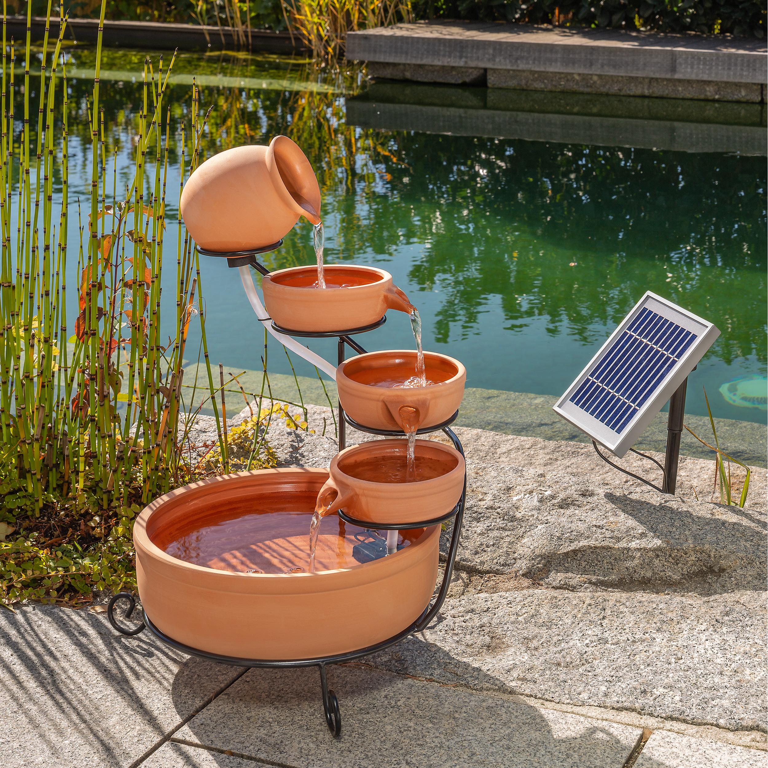 Solar Kaskadenbrunnen Mit Akku Led Solarbrunnen Gartenbrunnen