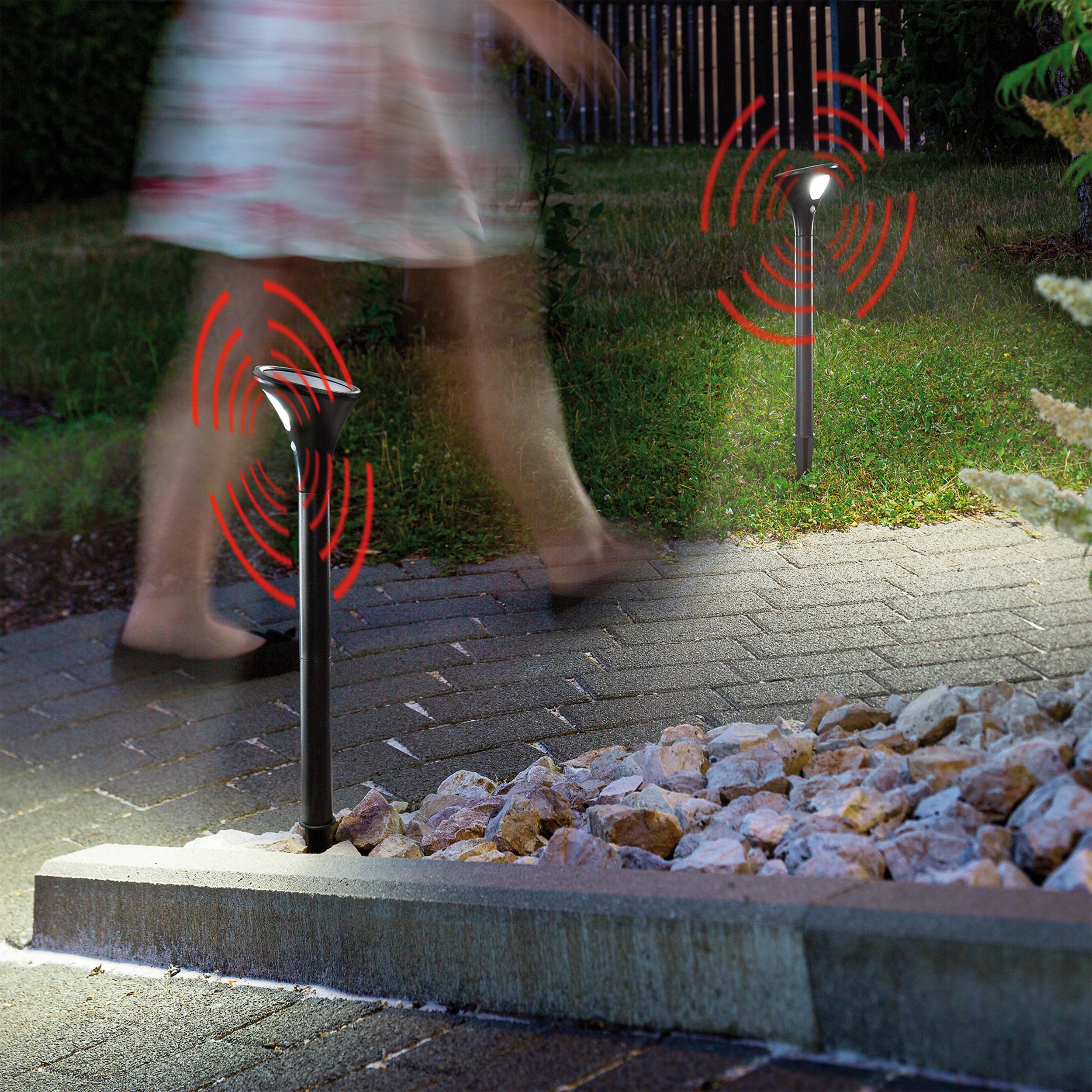 2 Stk Solar LED Wegeleuchten mit Bewegungssensor Solarstrahler esotec 102046