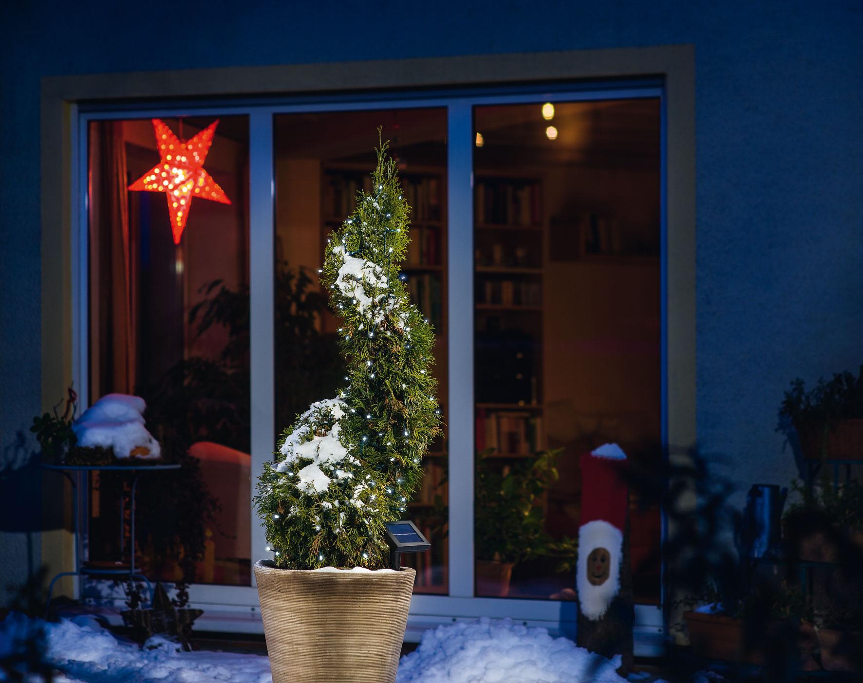 solar lichterkette 100led kaltwei solarleuchte solarlampe au en esotec 102101 ebay. Black Bedroom Furniture Sets. Home Design Ideas