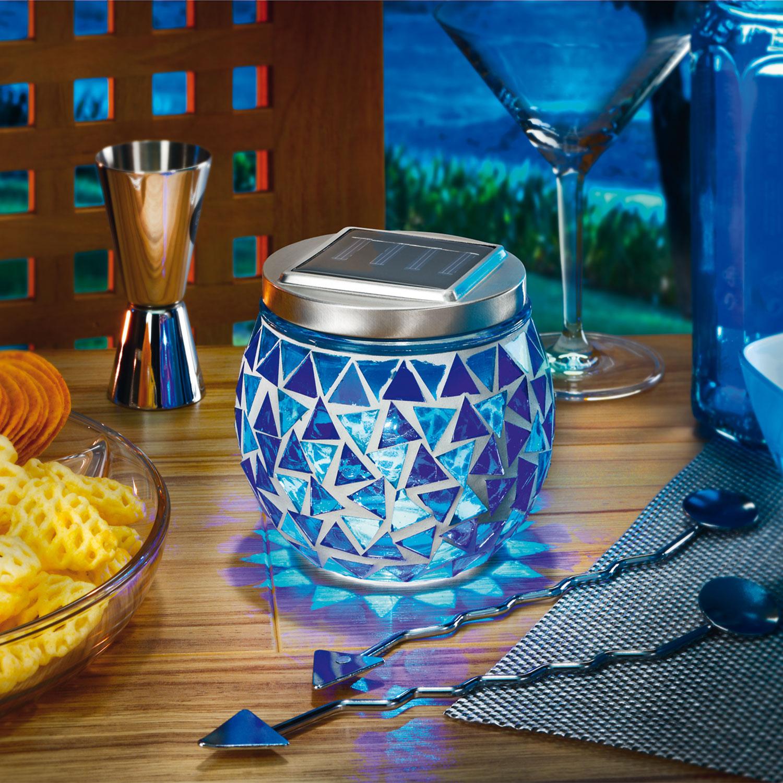 solar mosaikleuchte blau tischleuchte glasleuchte solarlampe au en esotec 102320 ebay. Black Bedroom Furniture Sets. Home Design Ideas